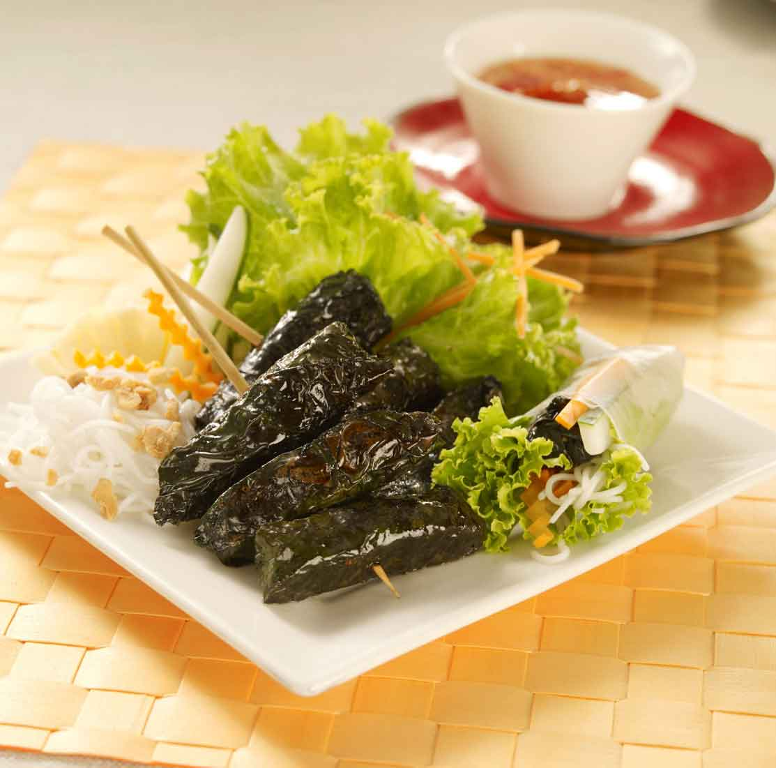 bbq-beef-wrapped-in-betel-nut-leaves